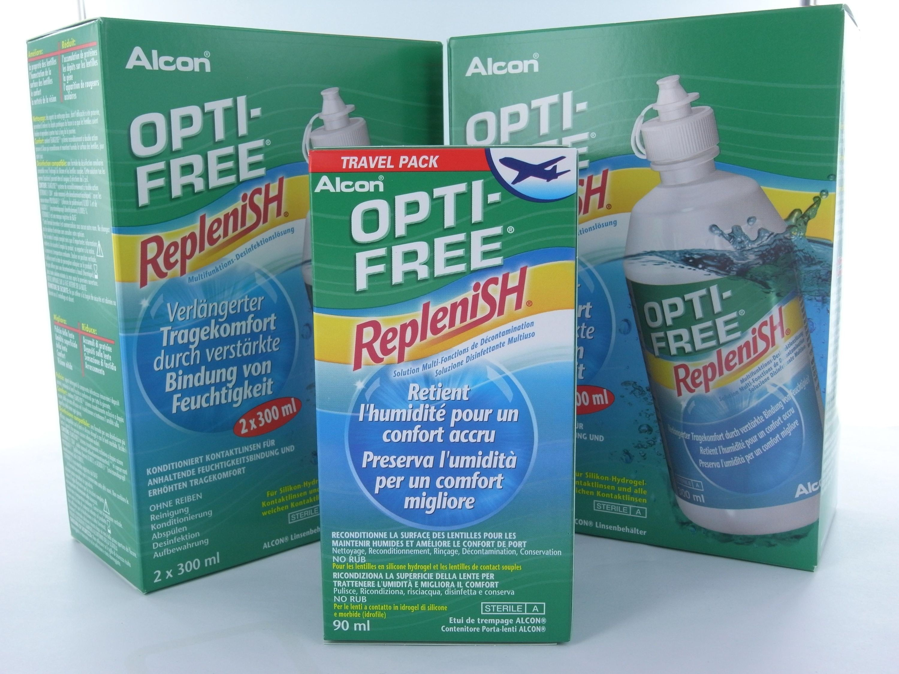 2x  OPTI-FREE RepleniSH  2x 300ml + 1x  OPTI-FREE RepleniSH  90ml